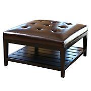 Abbyson Living Naples Leather Square Coffee Table Ottoman - Dark Brown