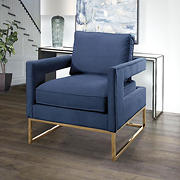 Abbyson Living Chase Velvet Armchair with Stainless Steel Legs - Blue