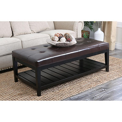 Abbyson Living Naples Coffee Table Ottoman - Dark Brown