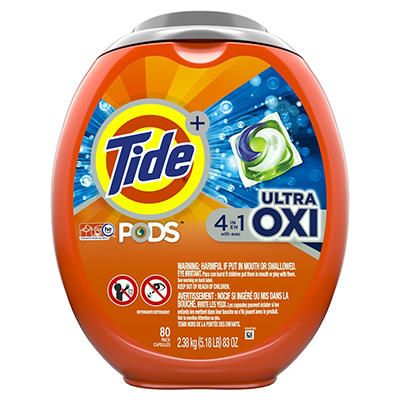 Tide PODS Ultra OXI Liquid Detergent Pacs, 80 ct.
