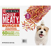Purina Moist & Meaty Burger with Cheddar Cheese Flavor Dog Food, 60 ct./6 oz.
