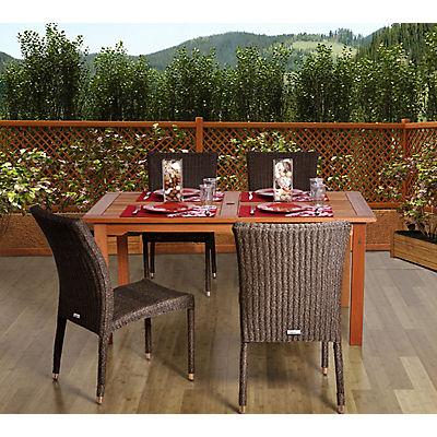 Amazonia Quebec 5-Pc. Eucalyptus Rectangular Dining Set - Brown/Beige/