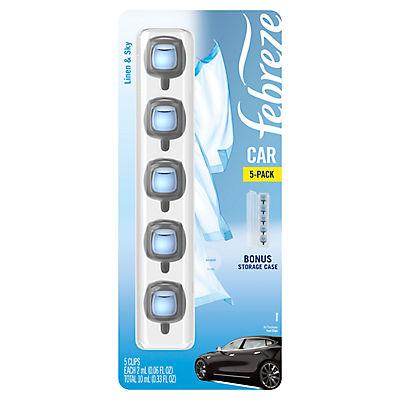 Febreze Car Air Freshener Linen and Sky Vent Clips, 5 ct./0.06 fl. oz.
