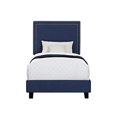 Picket House Furnishings Emery Upholstered Twin-Size Platform Bed - Bl