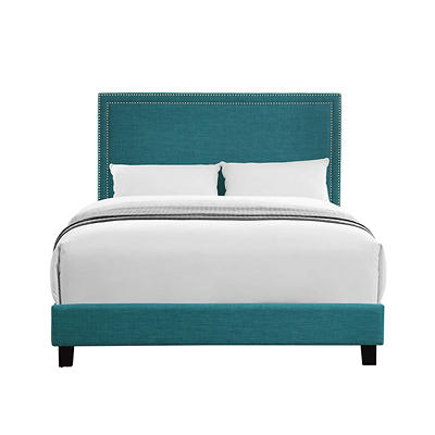Picket House Furnishings Emery Upholstered Queen-Size Platform Bed - Green
