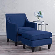 Picket House Furnishings Emery Chair and Ottoman Set - Blue