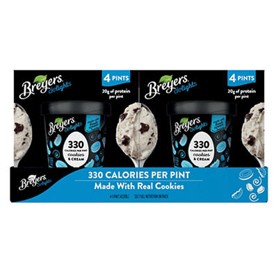 Breyers Delights Cookies and Cream Ice Cream, 4 pk./1 pt.