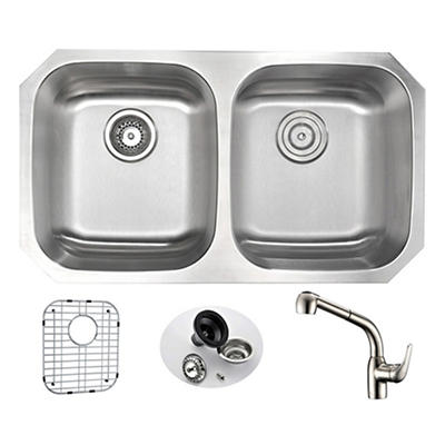 """ANZZI Moore 32"""" Kitchen Sink with 095 Faucet - Brushed Silver"""