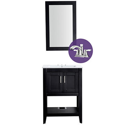 "ANZZI Mosset 24"" Bathroom Vanity with 014B Faucet - Black"