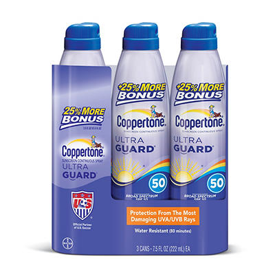 Coppertone Ultra Guard Continuous Sunblock SPF 50 Spray, 3 pk./7.5 fl.