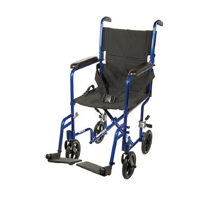 "Drive Medical Deluxe Lightweight 17"" Transport Wheelchair - Blue"
