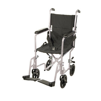 "Drive Medical Deluxe Lightweight 17"" Transport Wheelchair - Silver"