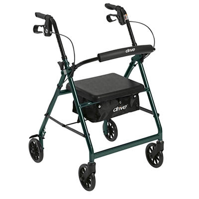 "Drive Medical Walker Rollator with 6"" Wheels, Fold Up Removable Back S"