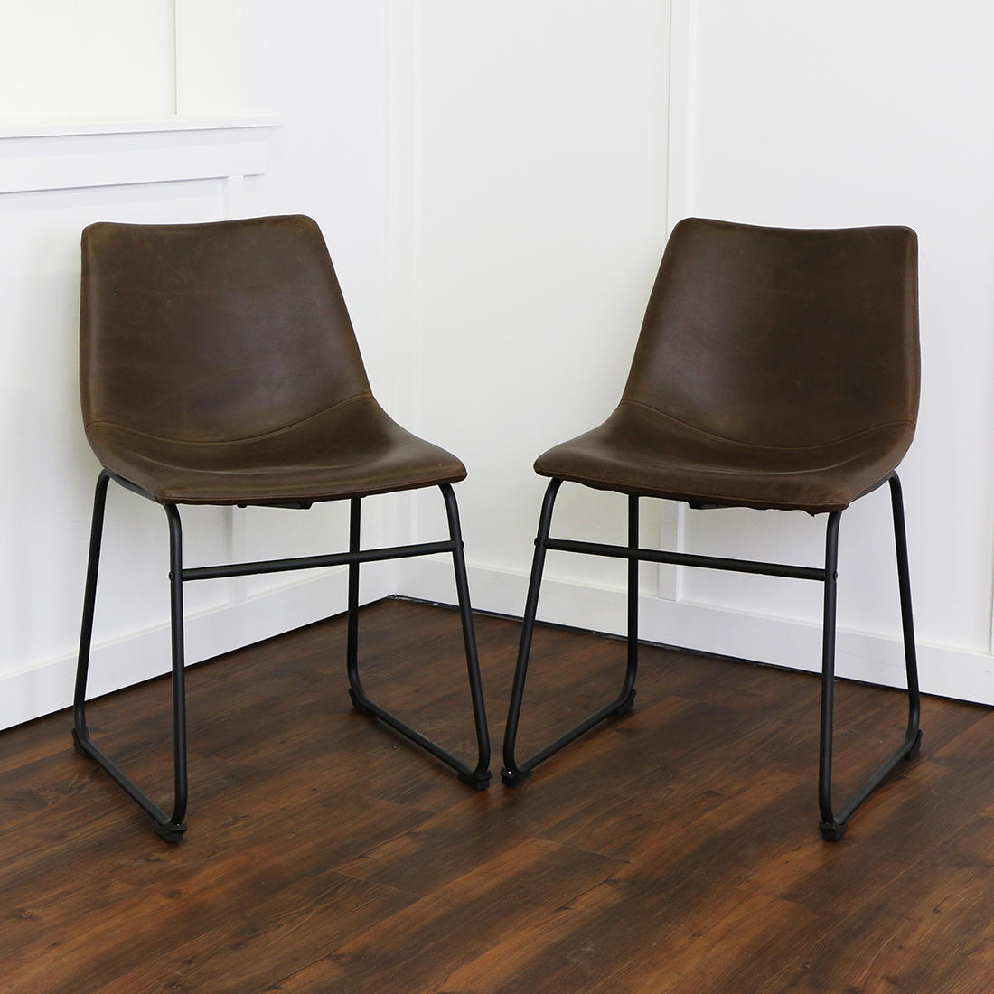 W. Trends Faux Leather Dining Chairs, 2 pk. - Brown