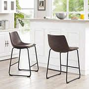 "W. Trends 36"" Faux Leather Barstools, 2 pk. - Brown"