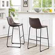 "W. Trends 40"" Faux Leather Barstools, 2 pk. - Brown"