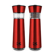 Kalorik Easygrind Electric Gravity Stainless Steel Salt and Pepper Grinder - Red