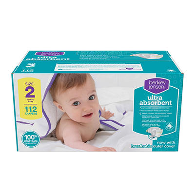 Berkley Jensen Ultra Absorbent Diapers, Size 2, 112 ct.