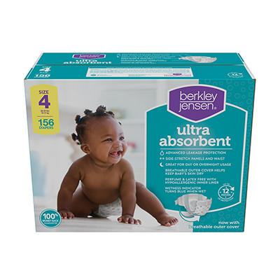 Berkley Jensen Ultra Absorbent Diapers, Size 4, 156 ct.