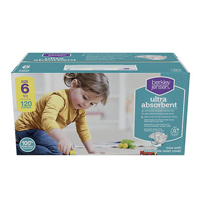 Berkley Jensen Ultra Absorbent Diapers, Size 6, 120 ct.