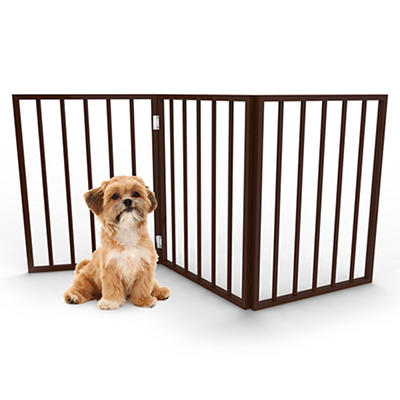 PETMAKER Freestanding Wooden Pet Gate - Dark Brown