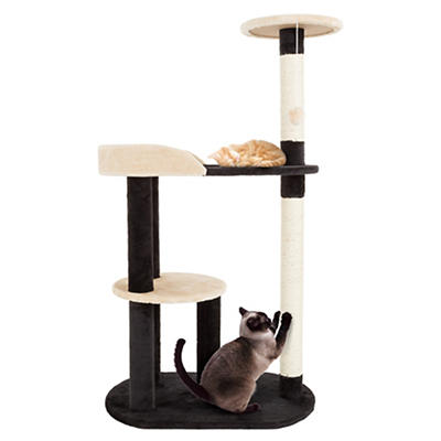"PETMAKER 42.25"" 3-Tier Sleep-and-Play Cat Tree - Black/Tan"