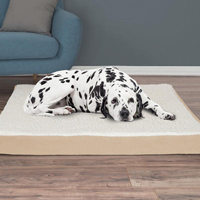 PETMAKER Extra-Large Sherpa-Top Orthopedic Pet Bed - Tan