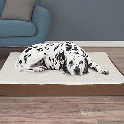 PETMAKER Extra-Large Sherpa-Top Orthopedic Pet Bed - Brown