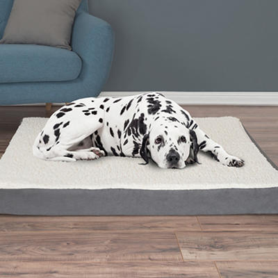 PETMAKER Extra-Large Sherpa-Top Orthopedic Pet Bed - Gray
