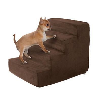 PETMAKER 4-Step High-Density Foam Pet Stairs - Brown