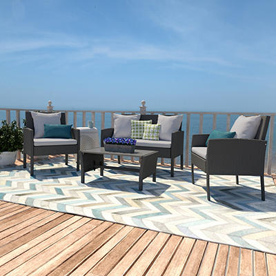 Handy Living Azura 4-Pc. Rattan Indoor/Outdoor Set - Gray