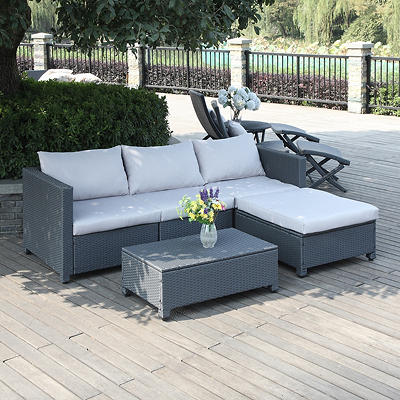 Handy Living Azura Rattan Outdoor Sectional and Table Set - Gray/Gray