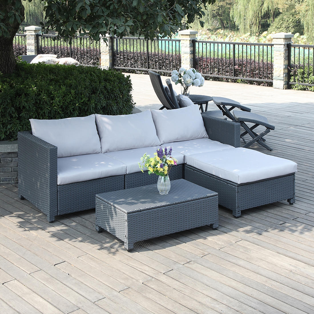 Groovy Handy Living Azura Rattan Outdoor Sectional And Table Set Gray Gray Inzonedesignstudio Interior Chair Design Inzonedesignstudiocom