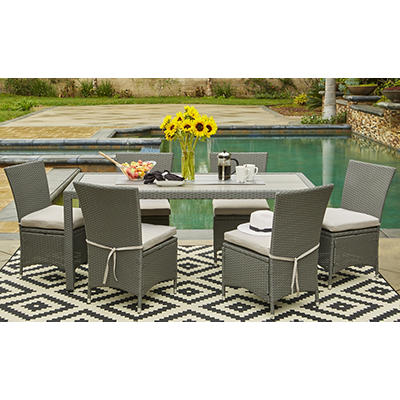 Handy Living Aldrich 7-Pc. Outdoor Dining Set - Gray