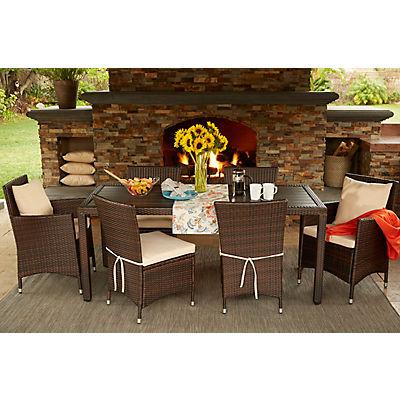 Handy Living Aldrich 7-Pc. Outdoor Dining Set - Brown/Beige