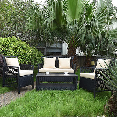 Handy Living Hayden Woven Resin Rattan 4-Pc. Outdoor Set - Black/Beige
