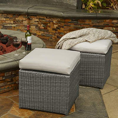 Handy Living Rattan Outdoor Ottomans, 2 pk. - Gray