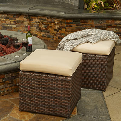 Handy Living Rattan Outdoor Ottomans, 2 pk. - Dark Brown