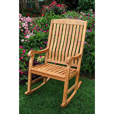 Crestwood Garden Teak Porch Rocker - Brown