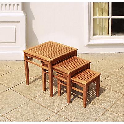Crestwood Garden 3-Pc. Teak Nesting Table Set - Brown