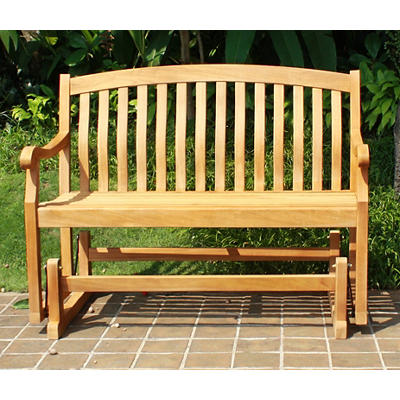 Crestwood Garden 4' Teak Glider Patio Bench - Brown