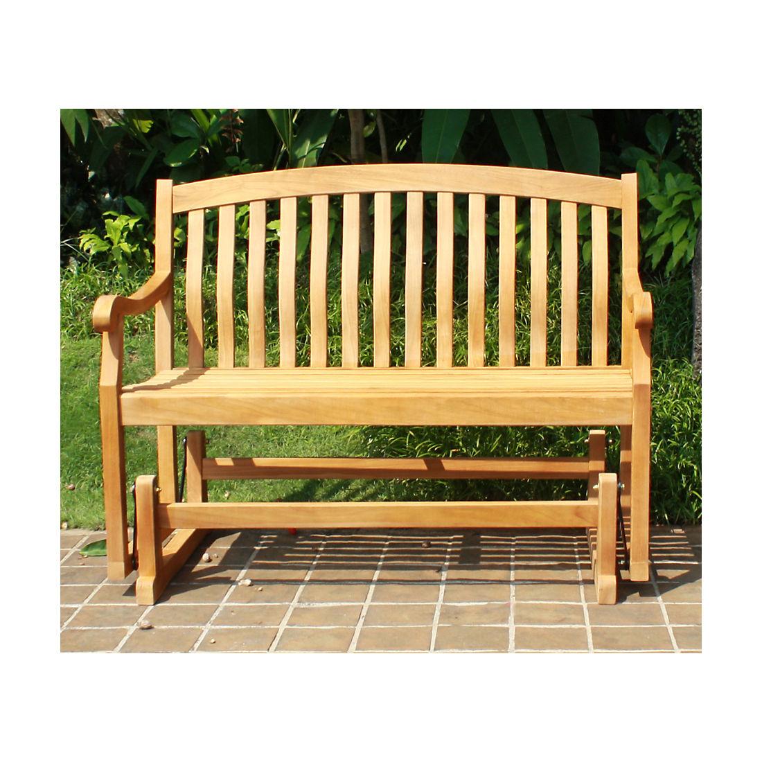 Awesome Crestwood Garden 4 Teak Glider Patio Bench Brown Machost Co Dining Chair Design Ideas Machostcouk