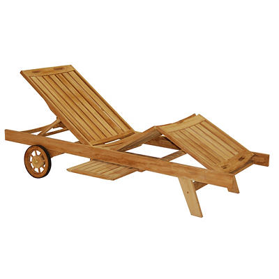 Crestwood Garden Teak Lounge Chair with Tray - Brown