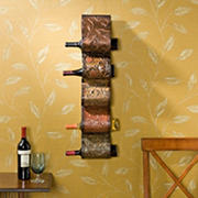 SEI Artistic 5-Bottle Wave Wall-Mount Wine Rack - Brown