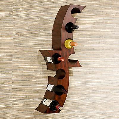 SEI Bienville 8-Bottle Wall-Mount Wine Rack - Rust