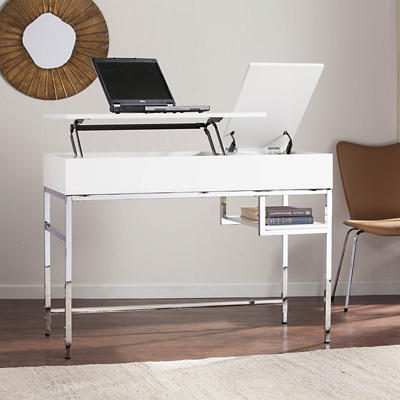 SEI Audro Adjustable Height Desk - White