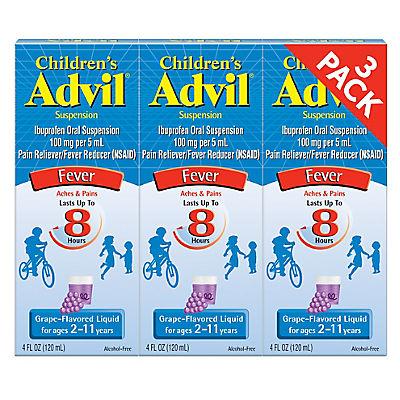 Children's Advil Grape Flavor Suspension, 4 Fl. oz., 3 pk.