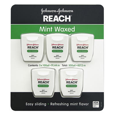 Johnson & Johnson Reach Mint Waxed Dental Floss, 5 pk./100 yds.