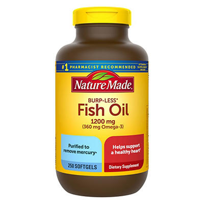 Nature Made 1,200mg Odorless Fish Oil Softgels with 360mg Omega-3, 250 ct.