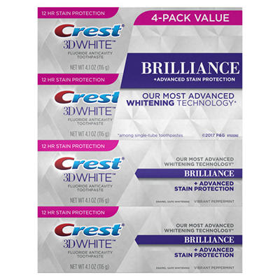 Crest 3D White Brilliance Toothpaste, 4 pk./4.1 oz.